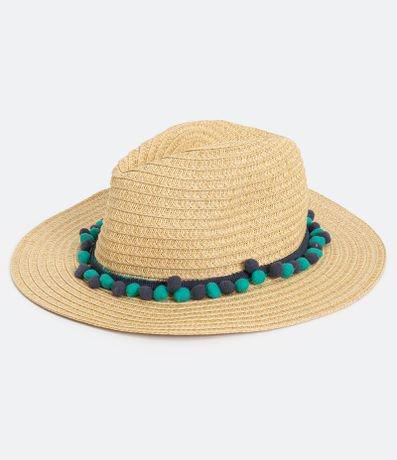 Chapéu de Palha com Mini Pompons