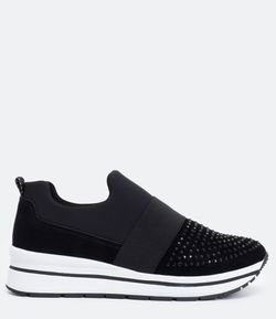Tênis Feminino Slip On com Strass Satinato