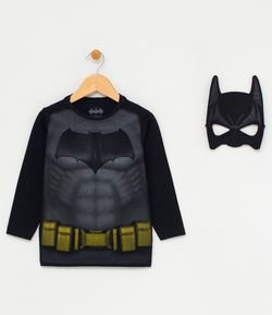 Camiseta Infantil Estampa Realista com Máscara do Batman - Tam 2 a 10 anos