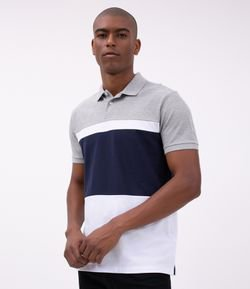 Camisa Polo Regular com Recortes