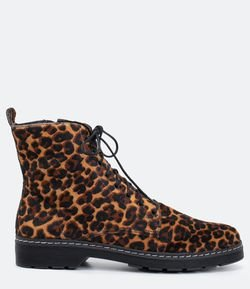 Bota Coturno Animal Print Satinato