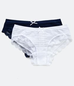 Kit 2x1 Calcinha Boyshort Sem Costura Listra