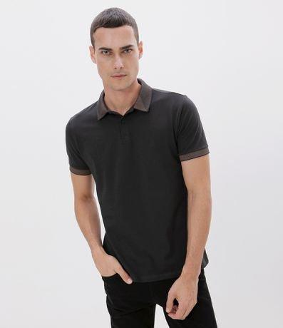 Camisa Polo Slim Detalhes em Jacquard em Piquet