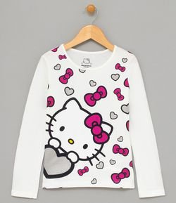 Blusa Infantil Estampa da Hello Kitty - Tam 4 a 14 anos