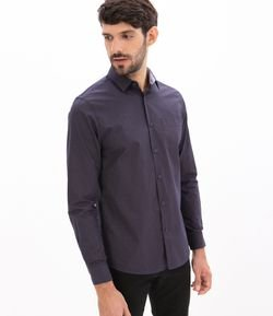 Camisa Slim Fit Manga Larga Estampa Cuadrillé Mini Grid con Bolsillo