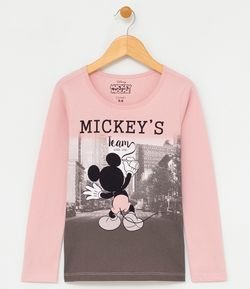 Blusa Infantil Estampa do Mickey - Tam 4 a 14 anos