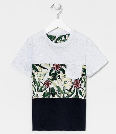 Camiseta Infantil com Estampa Floral - Tam 5 a 14 anos