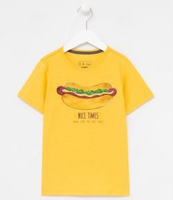 Remera Infantil Manga Corta Estampa Hot Dog - Tam 5 a 14 años