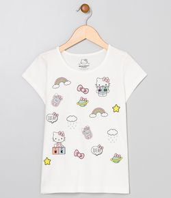 Blusa Infantil com Estampa Hello Kitty - Tam 4 a 14