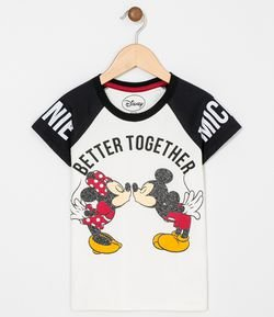 Remera Infantil Estampa Mickey y Minnie Tam 4 a 14 años