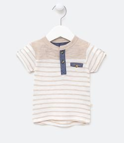 Remera Infantil Lineal con Cuello Henley Tam 0 a 18 meses