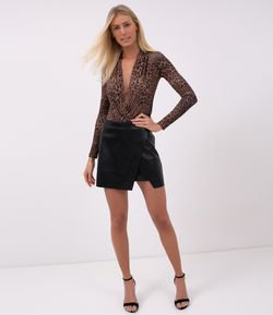 Body Femenino Animal Print Escote en V