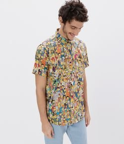 Camisa Manga Curta Estampa Elenco Simpsons