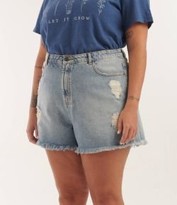 Short Jeans Boyfriend Destroyed Curve & Plus Size