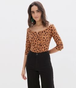 Body Animal Print con Escote en V
