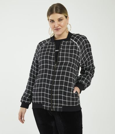 Jaqueta Bomber Tweed Curve & Plus Size