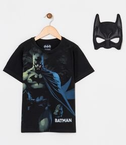 Camiseta Infantil Estampa do Batman e Máscara - Tam 3 a 8 anos