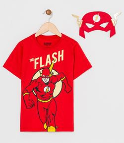 Camiseta Infantil Estampa do The Flash e Máscara - Tam 2 a 8 anos