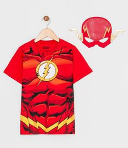 Camiseta Infantil Estampa Realista The Flash com Máscara - Tam 2 a 8 anos