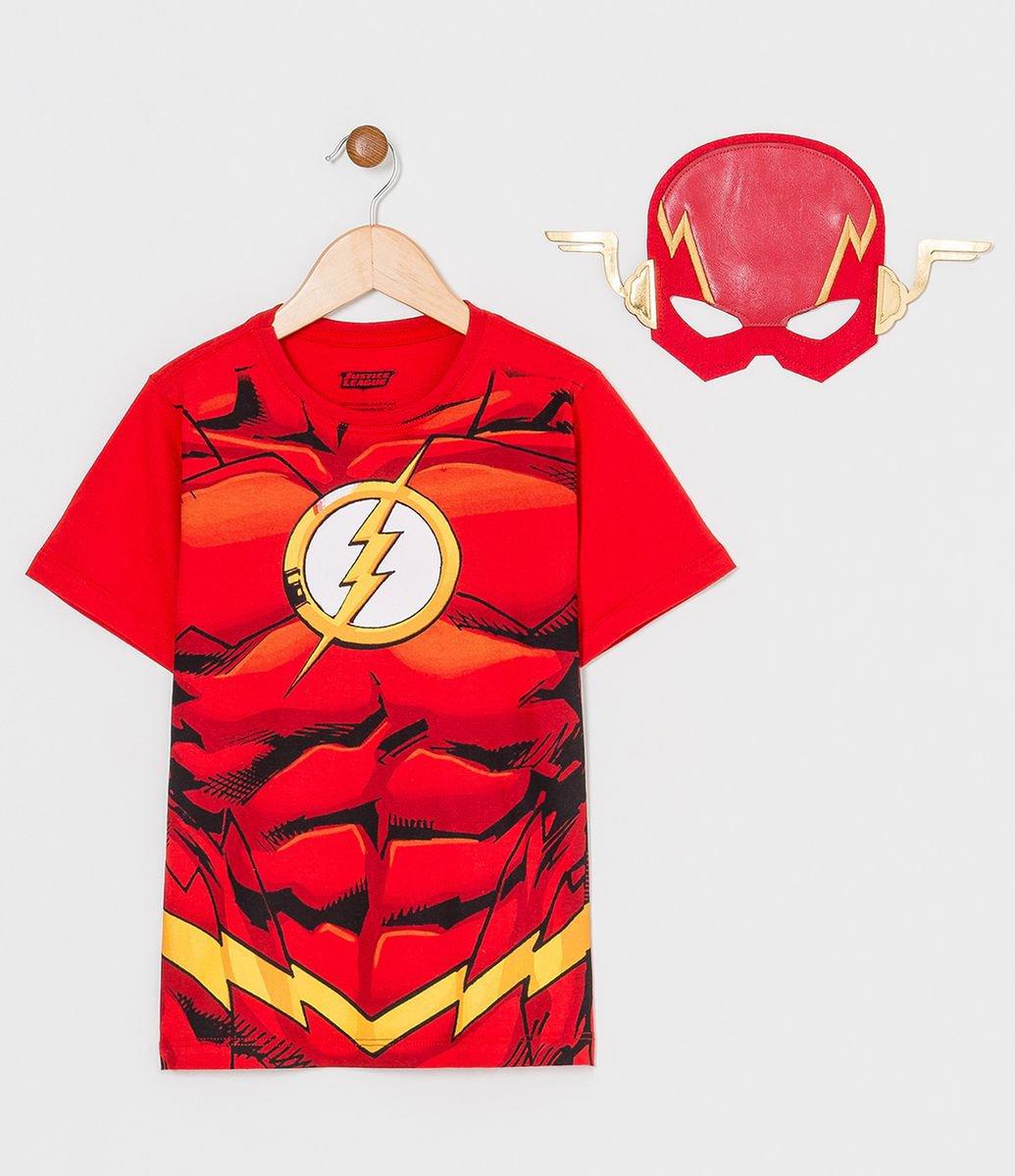 399109751194d5 Camiseta Infantil Estampa Realista The Flash com Máscara - Tam 2 a 8 anos