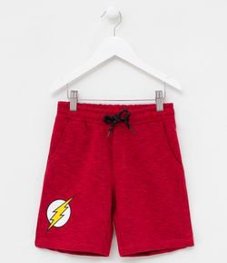 Bermuda Infantil em Moletom Estampa The Flash - Tam 2 a 8 anos
