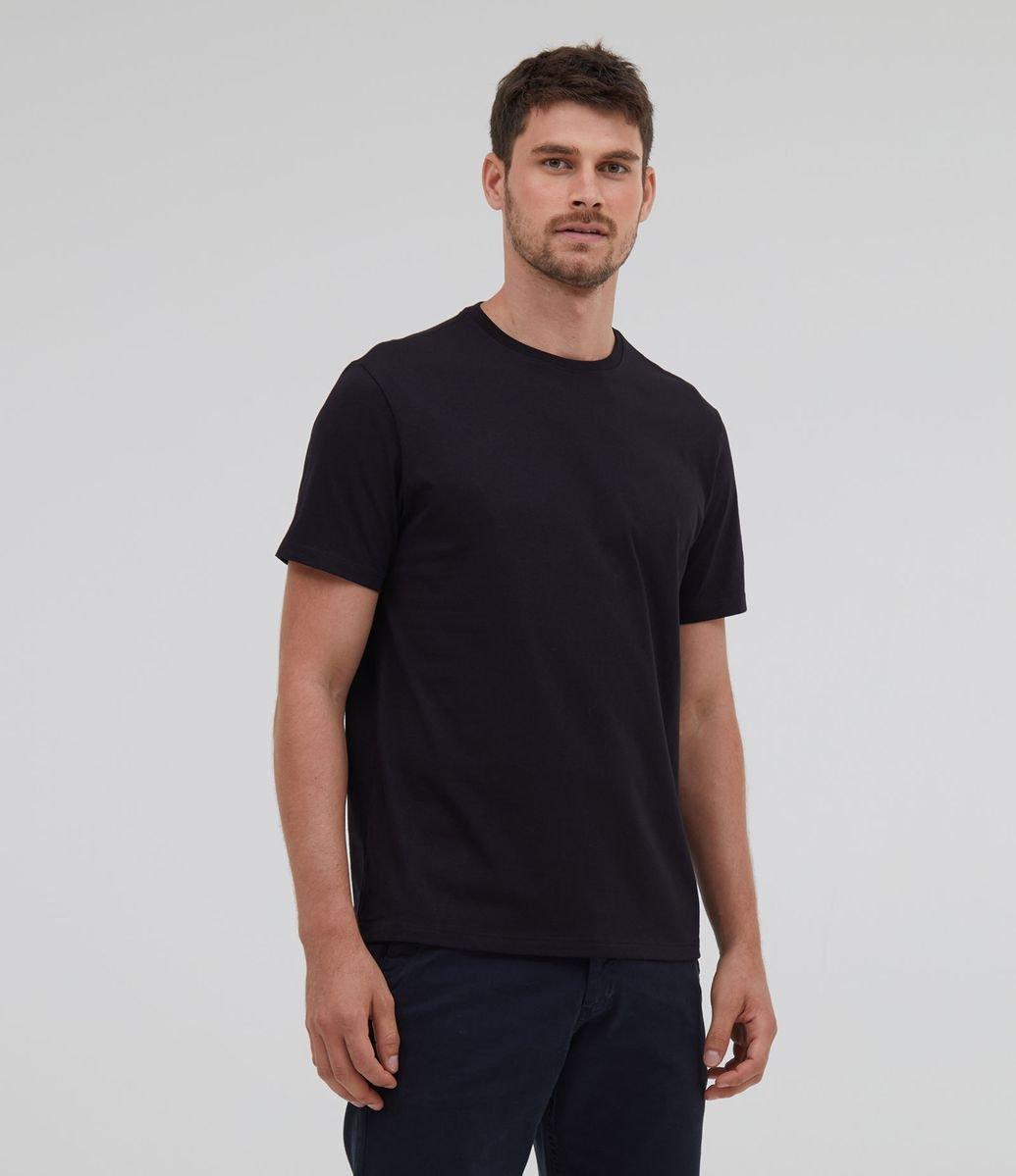 Camisa Comfort preta em algodão peruano