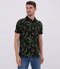 Polo Regular Fit Estampa Floral