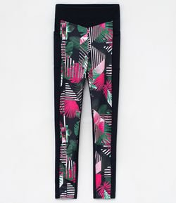 Calça Legging Esportiva Estampada Tropical