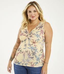 Regata Estampa Folhagem Curve & Plus Size