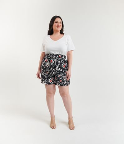 Short Clochard Estampado com Cinto Curve & Plus Size