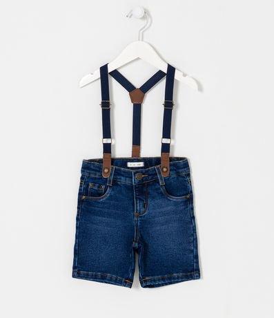 Bermuda Infantil em Jeans com Suspensório - Tam 1 a 4 anos