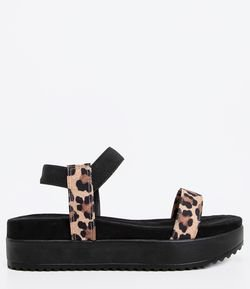 Sandalia Papete Animal Print Satinato