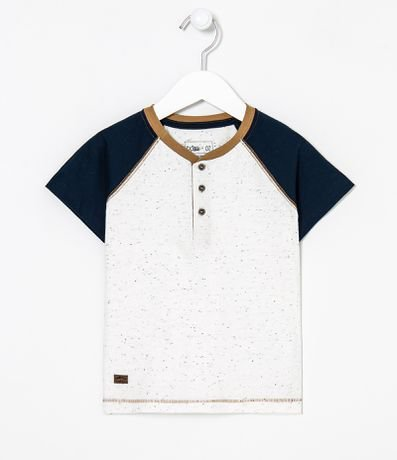 Camiseta Infantil Henley - Tam 1 a 4 anos