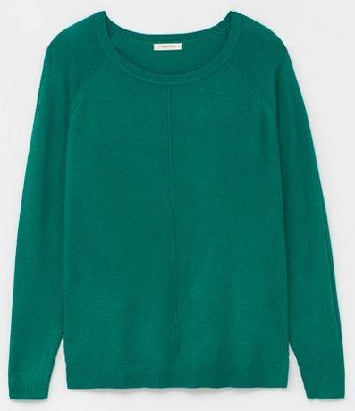Suéter Liso com Decote Redondo
