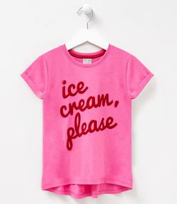 Blusa Infantil Mini Me Estampa Ice Cream Please - Tam 5 a 14 anos