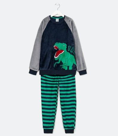 Pijama Infantil em Fleece Estampa de Dinossauro - Tam 5 a 14 anos