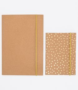 Kit 2 Cadernos com Capa Papel Kraft