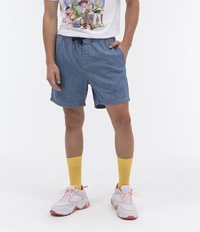 Short Jeans Listrado com Amarração