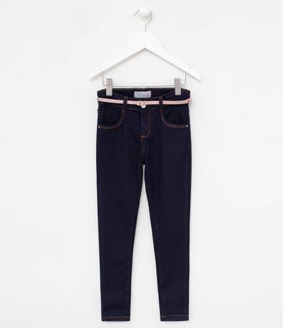 Calça Jeans Infantil com Cinto de Glitter Fuzarka - Tam 5 a 14