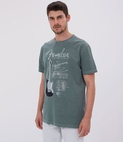 Camiseta com Estampa Fender