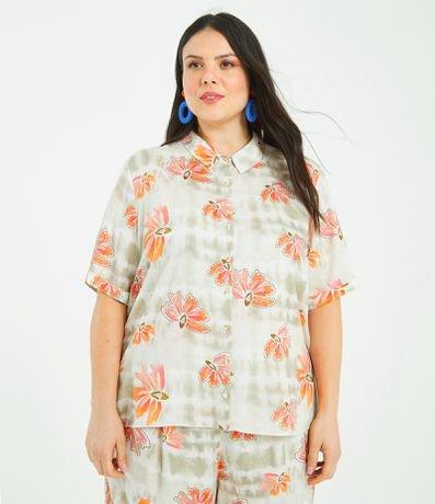 Camisa Manga Curta Floral Curve & Plus Size