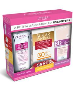Kit Loréal Paris Água Micelar + Protetor Solar Facial Expertise FPS30 + BB Cream Claro FPS20