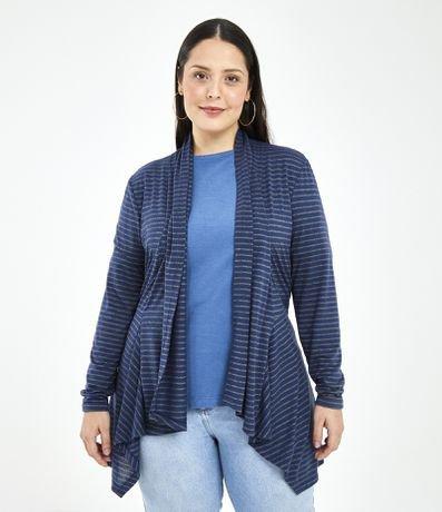 Casaco Listrado Curve & Plus Size