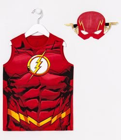 Regata Infantil Estampa Realista Corpo do The Flash e Máscara - Tam 3 a 10 anos