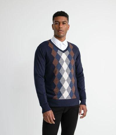 Blusão Suéter em Gola V com Estampa Argyle