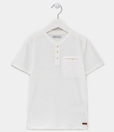 Camiseta Infantil com Gola Henley - Tam 5 a 14 anos