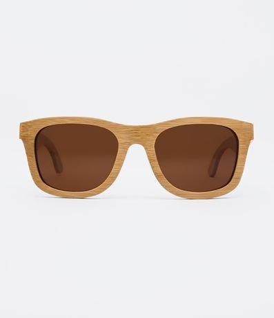 Óculos de Sol Feminino Quadrado em Bambu