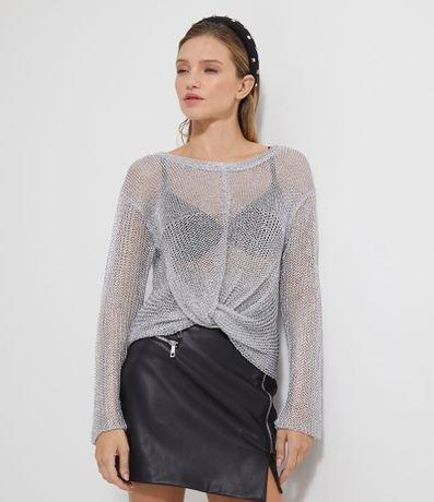Blusa Metalizada com Nó Frontal