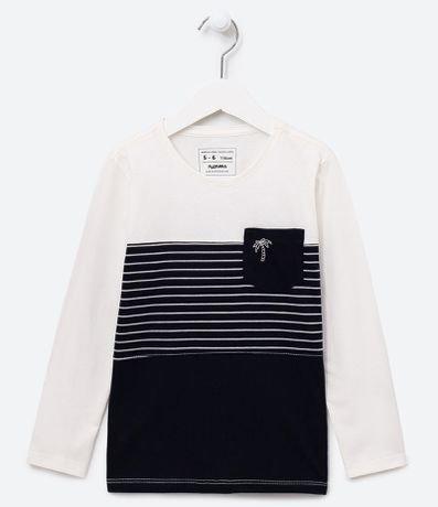 Camiseta Infantil com Listras Bolso Estampa Coqueiro - Tam 5 a 14 anos