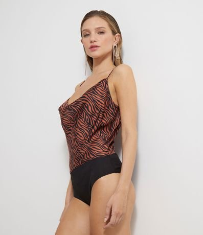 Body Animal Print com Alças Finas